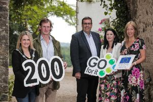"""Lord Mayor Councillor Mealla Campbell congratulating Jonathan Harty of Foraging at Harty Culture alongside Alderman Stephen Moutray, Chair of Council�""""s Economic Development and Regeneration Committee, Cara Dallat, CEO of CIDO and Nicola Wilson, Head of Department:- Economic Development, ABC Council."""