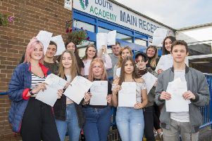 Louth Academy students celebrate their GCSE results today.