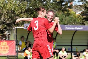 Sara Tubby (right) congratulates Sonia Foster after grabbing Worthing's third goal at Pagham. Picture by Ray Chaplin (One Rebels View)