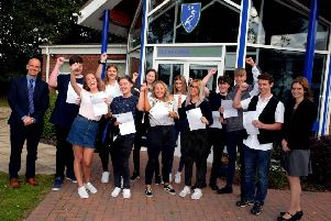 Somercotes Academy staff and students, pictured celebrating their exam result success in the summer