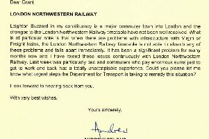 The letter sent by Andrew Selous MP to the Secretary of State for Transport Grant Shapps.