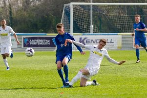 Robbie Taw (blue) was among the scorers as Baffins hit back to win 4-2 at Lymington