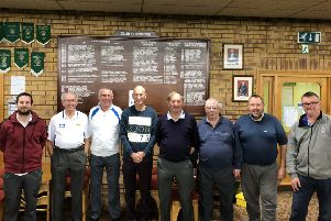 Horncastle IBC's Denny Plate away team are, from left, Lee Boucher, George Lancaster, Phil Boulton, George Burn, Peter Ulyatt, Wilf Walmsley, Chris Starsmeare, Keith Taplin.
