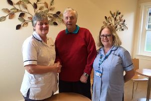 Team Lead Sue Limmer (left), Graham Dodsworth, and Assistant Practitioner Sue Harding who was heavily involved in Graham's rehabilitation.