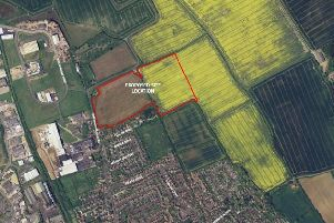The proposed housing site (in red) off Brackenborough Road in Louth.