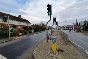 A car hit a 12-year-old girl at this set of traffic lights in Newmarket, Louth.