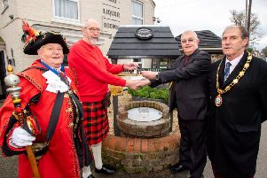 Town Crier David Summers, former Fossils president Michael Wellby, Lincs & Notts Air Ambulance volunteer Steve Tandy, and Mayor Carl Tebbutt