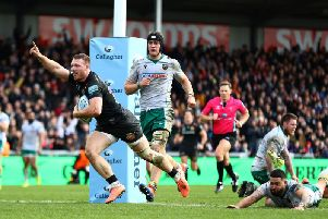 Sam Simmonds scored one of Exeter's eight tries