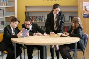 Pupils at Brownlow Integrated College, Craigavon Photograph by Declan Roughan