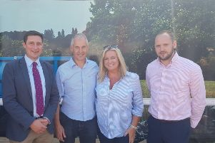 John and Jo-Anne Dobson celebrate with Pete Garbutt McDonald's Agriculture Manager and Keith Williamson Supply Chain Manager at Linden Foods after John scooped the McDonald's Beef Farmer Award for UK and Ireland at the Great Yorkshire Show. INLM McDonalds Dobson