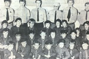 First Lurgan Scout Troop puctured at their end of year presentation in 1981.
