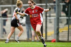 Chloe McCaffrey of Tyrone celebrates after scoring her side's third goal in the closing minutes during the TG4 All-Ireland Ladies Intermediate Football'Championship semi-final match between Sligo and Tyrone at Fr. Tierney Park in Donegal.