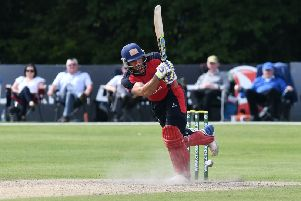 Shaheen Khan  bats during this year's Irish Senior Cup Final at Civil Service Ground at Stormont.  Pic Colm Lenaghan/Pacemaker