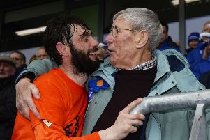 Glenavon's Gary Hamilton celebrates with his grandfather George Dennison after the club's Irish Cup win in 2016. PHOTO MARK MARLOW/PACEMAKER PRESS