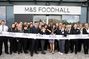 Pictured at the opening of the new M&S Foodhall in Craigavon today are John Woods, M&S Craigavon Store Manager, Lord Mayor of Armagh City, Banbridge & Craigavon, Councillor Julie Flaherty, along with Malachy Kofa (12) and Brid McKeown (15) pupils at Ceara Special School in Craigavon.