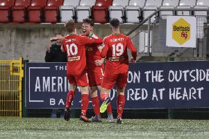 Cliftonville Conor Mc Donald celebrates his goal during Saturday's game at Solitude. (Picture by Dessie Loughery/Pacemaker Press.)
