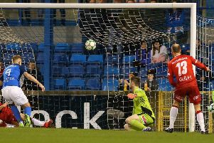 Glenavon's Andrew Mitchell makes it 1-0 last night