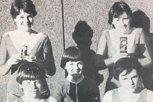 The Lismore Comnprehensive trampoline team pictured in 1991. Included are Christina Dickinson, Teresa Houston, Martin Devlin, Michelle McStravick, and Tony Weir.