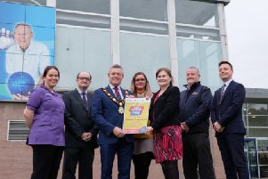 (L-R): Carolyn Ruddy, Extra Care; Adrian McKeown, Recruitment Officer, Extra Care; Mayor of Antrim and Newtownabbey, Councillor Paul Michael; Necole Donaghy, Employer Services Manager Network Personnel; Bernadette Clarke, Head of HR, Camden Group; Lyle Wilson, Group Training Manager, McBurney Transport and'Stephen McGlew, Head of Employer Services Branch for Department for Communities are gathered at Antrim Fourm for the Launch of the Jobs and Careers Fair which is being held on Thursday 28 March.