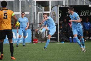 Rob O'Toole in action against Cray Wanderers. Picture by John Lines