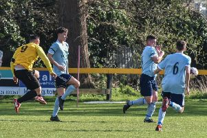Ben Mackey fires home his first of the game. Pictures: Louise Smith