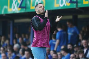 Conor Chaplin, seen here applauding the Fratton faithful on his return, is convinced Pompey will win promotion this season. Picture: Joe Pepler