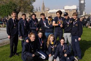 The canoeists stood proud as they received their finishers medals