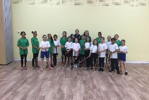 Great Britain hockey star Jo Hunter visits Haydon Abbey School in Aylesbury