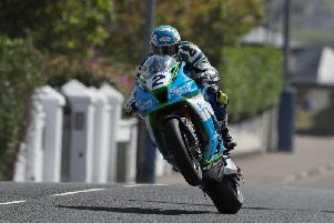 Dean Harrison topped the Superbike times on Tuesday on the Silicone Engineering Kawasaki. Picture: Desmond Loughery/Pacemaker Press.
