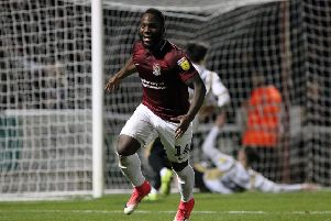 Junior Morias scored a late,late equaliser as the Cobblers drew 2-2 with Milton Keynes Dons in December
