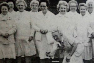 Mildred Crooks, Lady President of Carrickfergus Bowling Club throws the first bowl to open the new Ladies' Section season. 1991