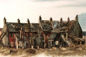 Houses wrecked to order. A painting by local artist George White shows houses that had to be wrecked on council orders in the 1960s. Picture: John Porter collection