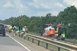 The air ambulance at the scene of the crash