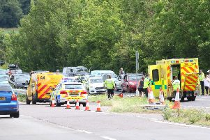The A27 has been blocked near Castle Goring