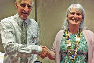 Out going president Colin de Fleury welcomes Hilary McGavock as president of Carrickfergus Rotary Club for the Rotary year 2019-2020.