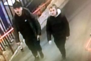 Two of the three men police are hunting for in connection with the theft of a BMW in Salisbury. Photo: Wiltshire Police