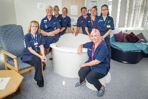 29/8/19''CATCH LINE: Maternity pilot''STORY: A dedicated team of 10 midwives have come together to form Athena, a pilot which looks to provide care for approximately 350 women a year at Portsmouth Maternity Centre, St Mary's Community Healthcare Campus, Portsmouth.''Pictured : The team of Midwives in one of the delevery rooms at Portsmouth Maternity Centre, St Mary's Community Healthcare Campus, Portsmouth.''Picture : Habibur Rahman'