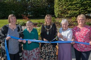 Pictured are Geraldine Gilpin, chief executive, Abbeyfield & Wesley Housing Association, Ellen McIlwaine, Lord Mayor, Cllr Mealla Campbell, Winnie Carson and Barbara Kelso, garden designer