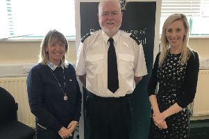 DUP Cllr Margaret Tinsley with Chief Inspector Barney O'Connor and MLA Carla Lockhart