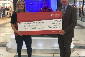 Colleen Milligan, Regional Fundraising Manager, Air Ambulance NI is pictured with Rushmere Centre Manager, Martin Walsh