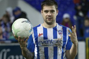 James McLaughlin with the match ball after Coleraine's 4-0 win over Glenavon
