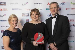 Women in Business Chair Nichola Robinson with small business winner of the Award for Outstanding Innovation, Dr Esther L. Skelly-Smith, Shanaghan Veterinary Services, with sponsor Adrian Moynihan, First Trust Bank