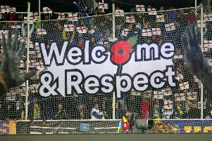 A Welcome and Respect sign during the UEFA Euro 2020 qualifying match at the Fadil Vokrri Stadium, Pristina. PA Photo.