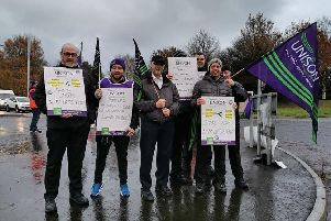 Health care workers and hospital staff who took part in industrial action outside Craigavon Hospital