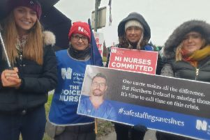 Nurses on the picket line outside Craigavon Hospital on Wednesday