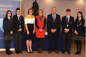 Guest speaker Mrs Susan Thompson along with Princpal Ruth Harkness, Chair of Board of Governors- Mr Marsahall Allen,  Head Boy and Head Girl from Portadown and Luragn campus. Sam Anderon, Molly Matchett, Weronika Mroz and Ashley Martin