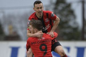 Crusaders' Paul Heatley celebrates breaking the deadlock against Glenavon. Pic by INPHO.