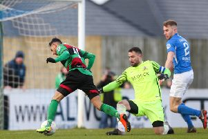 Navid Nasseri scoring his second goal for Glentoran against Glenavon. Pic by INPHO.