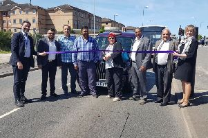 Hackney Carriage on Busway - ribbon cutting