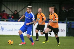 Dunstable Town's Marius Patru in action on the weekend - pic: Chris White